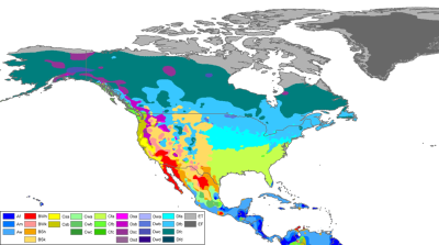 Kort der viser klimazonerne i Nordamerika.
