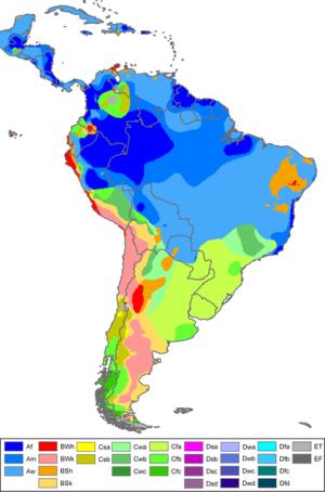 Kort der viser klimazonerne i Sydamerika.