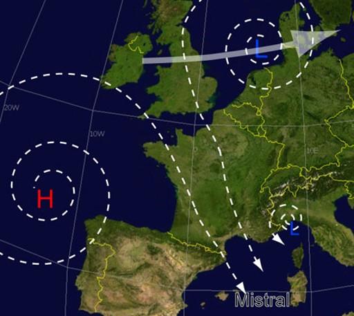 Mistral-vind blæser fra Biscayabugten ind over Frankrig.