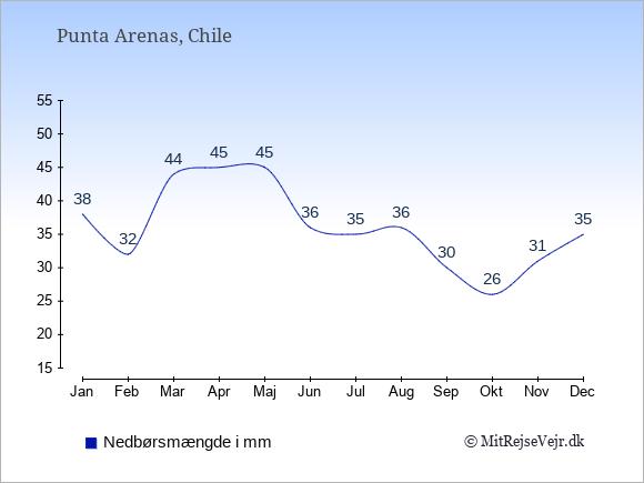 Nedbør i Punta Arenas i mm: Januar 38. Februar 32. Marts 44. April 45. Maj 45. Juni 36. Juli 35. August 36. September 30. Oktober 26. November 31. December 35.