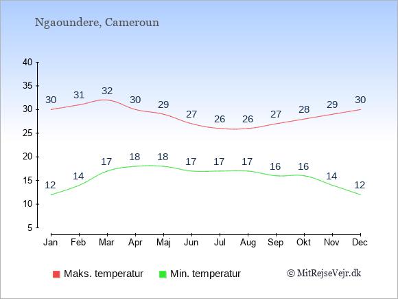 Gennemsnitlige temperaturer i Ngaoundere -nat og dag: Januar 12;30. Februar 14;31. Marts 17;32. April 18;30. Maj 18;29. Juni 17;27. Juli 17;26. August 17;26. September 16;27. Oktober 16;28. November 14;29. December 12;30.