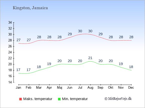Temperaturer på Jamaica -dag og nat.