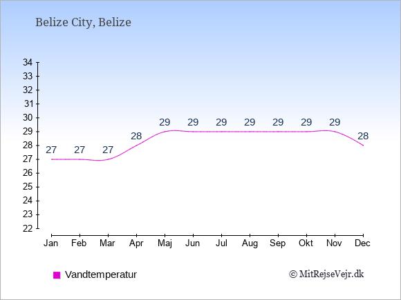 Vandtemperatur i  Belize. Badevandstemperatur.