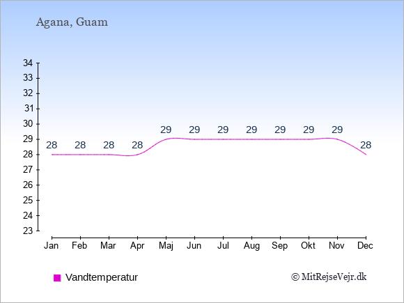 Vandtemperatur på  Guam. Badevandstemperatur.