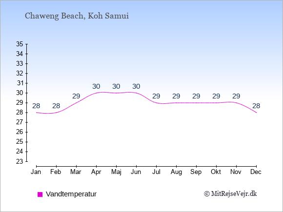 Vandtemperatur i Chaweng Beach Badevandstemperatur: Januar 28. Februar 28. Marts 29. April 30. Maj 30. Juni 30. Juli 29. August 29. September 29. Oktober 29. November 29. December 28.