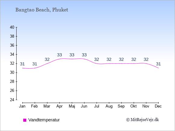 Vandtemperatur i  Bangtao Beach. Badevandstemperatur: Januar:31. Februar:31. Marts:32. April:33. Maj:33. Juni:33. Juli:32. August:32. September:32. Oktober:32. November:32. December:31.