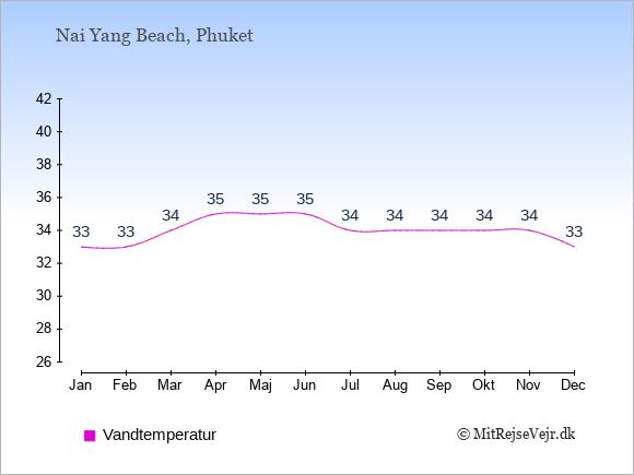 Vandtemperatur i  Nai Yang Beach. Badevandstemperatur: Januar:33. Februar:33. Marts:34. April:35. Maj:35. Juni:35. Juli:34. August:34. September:34. Oktober:34. November:34. December:33.