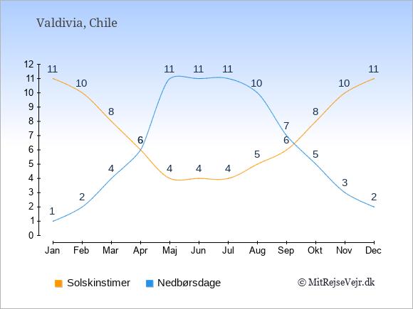 Vejret i Valdivia illustreret ved antal solskinstimer og nedbørsdage: Januar 11;1. Februar 10;2. Marts 8;4. April 6;6. Maj 4;11. Juni 4;11. Juli 4;11. August 5;10. September 6;7. Oktober 8;5. November 10;3. December 11;2.