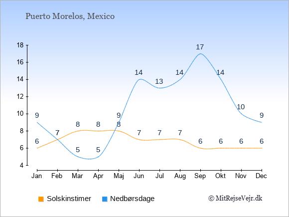 Vejret i Puerto Morelos illustreret ved antal solskinstimer og nedbørsdage: Januar 6;9. Februar 7;7. Marts 8;5. April 8;5. Maj 8;9. Juni 7;14. Juli 7;13. August 7;14. September 6;17. Oktober 6;14. November 6;10. December 6;9.