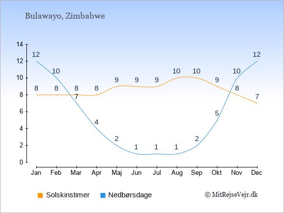 Vejret i Bulawayo illustreret ved antal solskinstimer og nedbørsdage: Januar 8;12. Februar 8;10. Marts 8;7. April 8;4. Maj 9;2. Juni 9;1. Juli 9;1. August 10;1. September 10;2. Oktober 9;5. November 8;10. December 7;12.